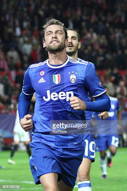 Juventus midfielder Claudio Marchisio celebrates after scoring his goal during the Uefa Champions League group stage football match n5 SEVILLA...