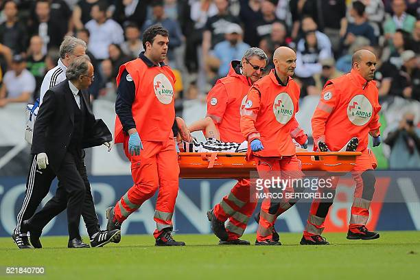 Juventus' midfielder Claudio Marchisio leaves the pitch on a stretcher after an injury during the Italian Serie A football match Juventus vs Palermo...
