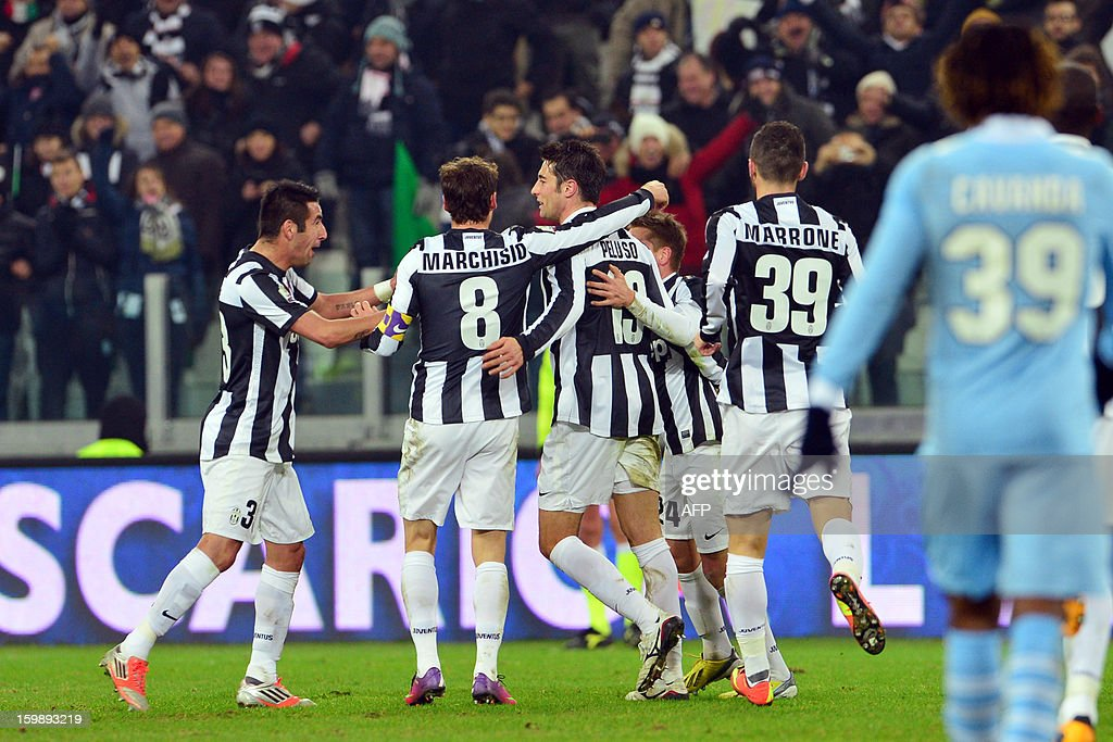 Juventus' midfielder Federico Peluso celebrates after scoring a goal during their TIM CUP football match between Juventus and Lazio at the Juventus Stadium in Turin on January 22, 2013.