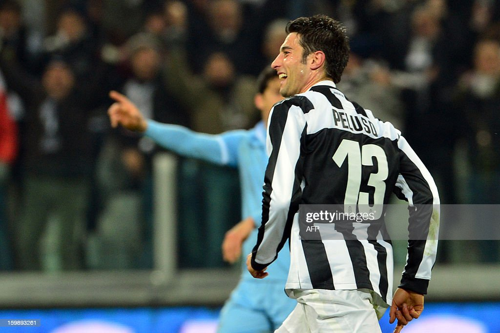 Juventus' midfielder Federico Peluso celebrates after scoring a goal during the TIM CUP football match between Juventus and Lazio at the Juventus Stadium in Turin on January 22, 2013.