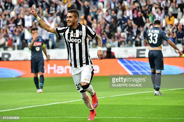 Juventus' midfielder from Argentina Roberto Pereyra celebrates after scoring during the Italian Serie A football match Juventus vs Napoli on May 23...