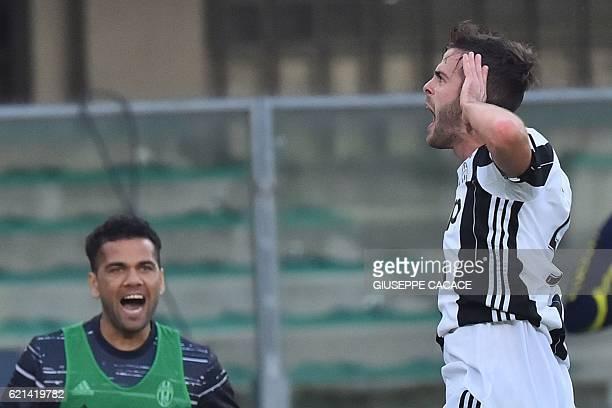 Juventus' midfielder from Bosnia Miralem Pjanic celebrates after scoring during the Italian Serie A football match Chievo Verona vs Juventus at...