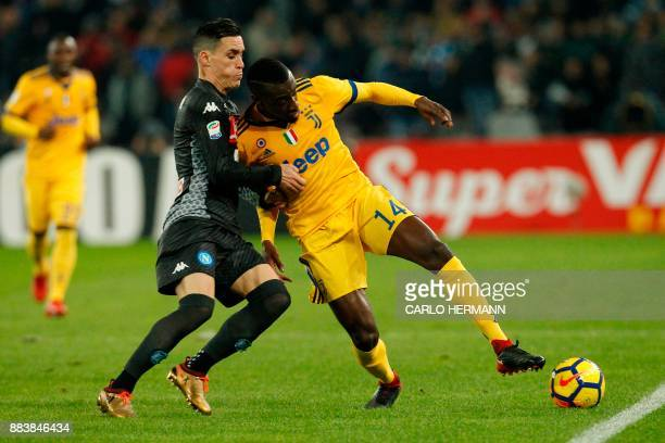 Juventus' midfielder from France Blaise Matuidi vies with Napoli's midfielder from Spain Jose Maria Callejon during the Italian Serie A football...
