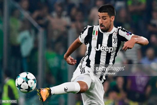Juventus' midfielder from Germany Sami Khedira controls the ball during the UEFA Champions League Group D football match Juventus vs Sporting CP at...