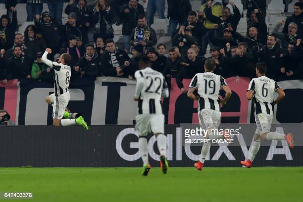 Juventus' midfielder from Italy Claudio Marchisio celebrates after scoring a goal during the Italian Serie A football match between Juventus and...
