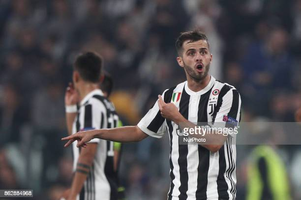 Juventus midfielder Miralem Pjanic during the Uefa Champions League group stage football match n3 JUVENTUS SPORTING on at the Allianz Stadium in...