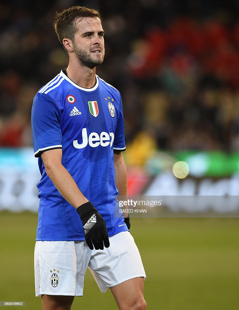 Juventus midfielder Miralem Pjanic looks on during the