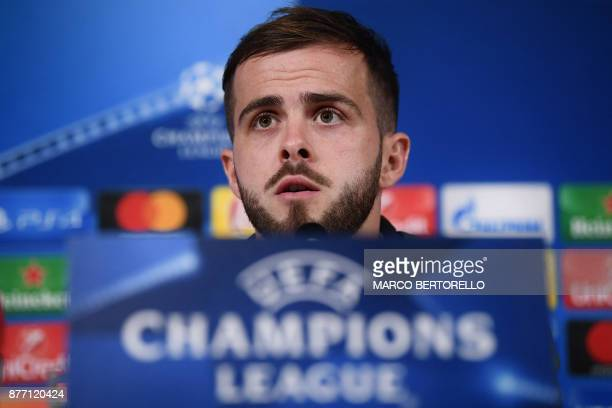 Juventus' midfielder Miralem Pjanic of BosniaErzegovina attends a press conference on the eve of the UEFA Champions League football match Juventus Vs...