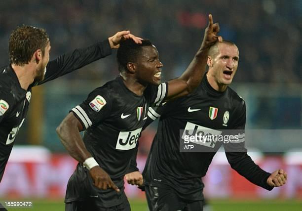 Juventus' midfielder of Ghana Kwadwo Asamoah celebrates scoring during the Italian Serie A football match between Pescara and Juventus on November 10...