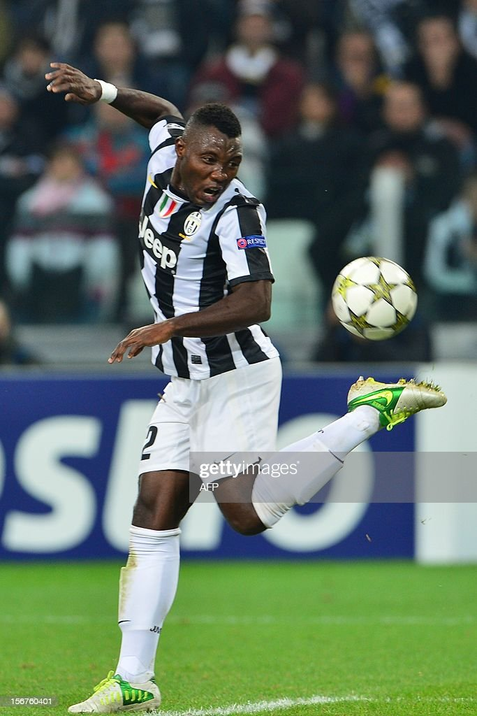 Juventus' midfielder of Ghana Kwadwo Asamoah controls the ball during the Champions League football match between Juventus and Chelsea on November 20, 2012 in the stadium of Alps in Turin.