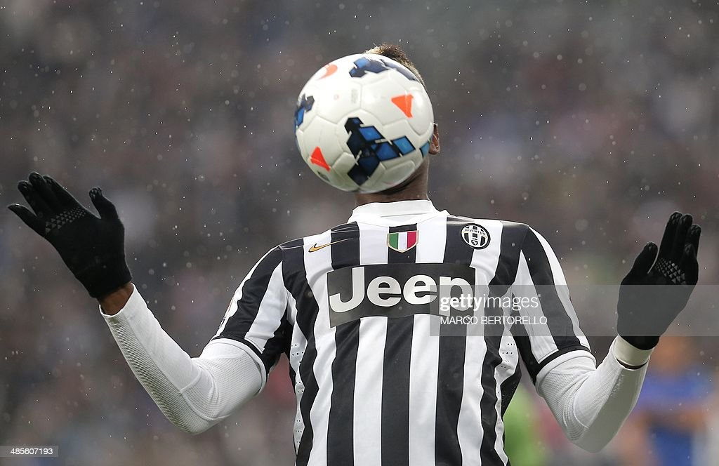 Juventus' midfielder Paul Pogba controls the ball during the Italian Serie A football match Juventus Vs Bologna on April 19, 2014 in Juventus Stadium in Turin.