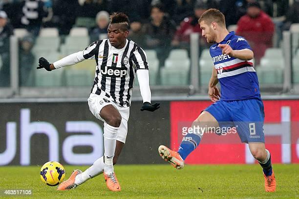 Juventus' midfielder Paul Pogba fights for the ball with Sampdoria defender Shkodran Mustafi during the Italian Serie A football match Juventus Vs...