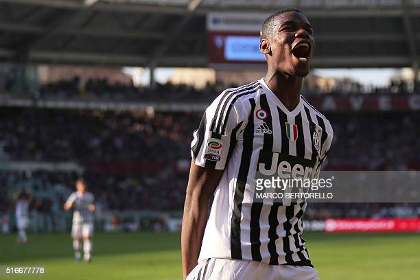 Juventus' midfielder Paul Pogba from France celebrates after a goal of teammate Juventus' forward Alvaro Morata from Spain during the Italian Serie A...