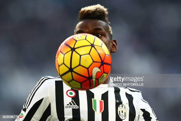 TOPSHOT Juventus' midfielder Paul Pogba from France controls the ball during the Italian Serie A football match Juventus Vs Hellas Verona on January...