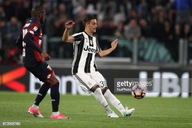 Juventus midfielder Rolando Mandragora passes the ball during the Serie A football match n33 JUVENTUS GENOA on at the Juventus Stadium in Turin Italy