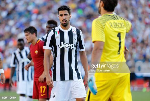 Juventus midfielder Sami Khedira eyes Roma goalkeeper Alisson during an International Champions Cup match between AS Roma and Juventus on July 30 at...