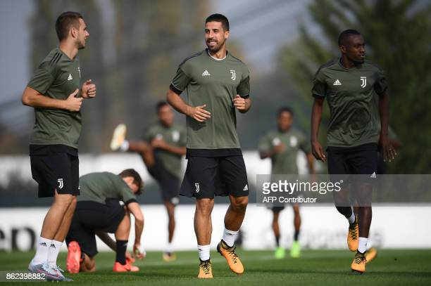 Juventus' midfielder Sami Khedira from Germany attends a training session with teammates on the eve of the UEFA Champions League football match...