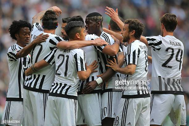 Juventus' midfielder Sami Khedira from Germany celebrates with teammates after scoring during the Italian Serie A football match Juventus vs Palermo...