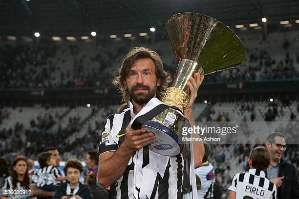 Juventus midifelder Andrea Pirlo with the Scudetto Trophy after winning Serie A