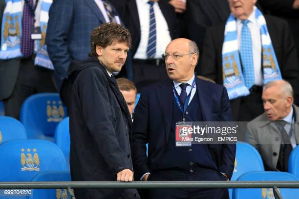 Juventus' Paolo De Matteis in the stands with director Giuseppe Marotta