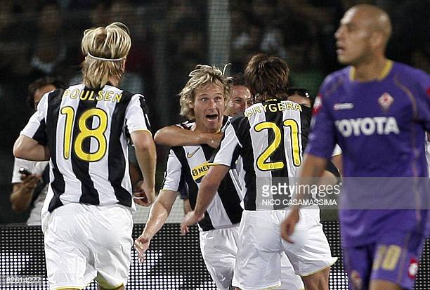 Juventus' Pavel Nedved celebrates after scoring against Fiorentina during their Serie A football match at Artemio Franchi stadium in Florence on...