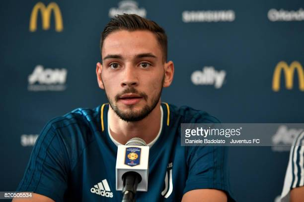 Juventus player Mattia De Sciglio attends a press conference during the Juventus Summer Tour on July 21 2017 in New York City