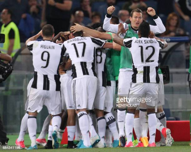 Juventus' players celebrate a goal during the TIM Italy Cup Final football match SS Lazio vs Juventus FC at the Olimpico Stadium FC Juventus won the...