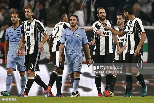 Juventus' players celebrate a goal of Juventus' midfielder Miralem Pjanic of BosniaErzegovina during the Italian Serie A football match Juventus Vs...