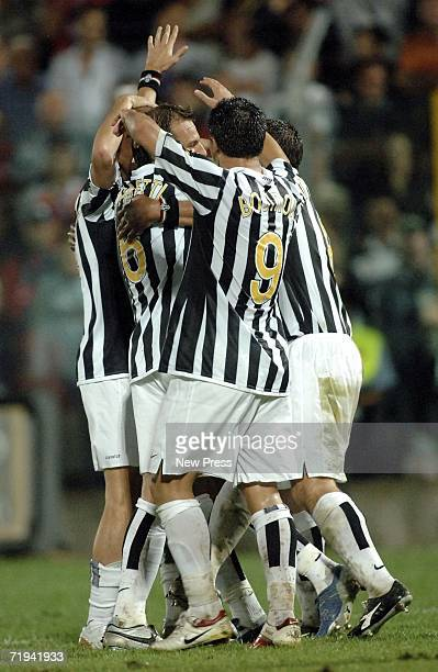 Juventus players celebrate after a goal by Jean Alain Boumsong during the Serie B match between Juventus and Crotone at Ezio Scida stadium September...