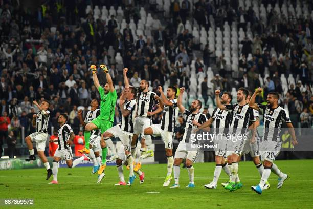 Juventus players celebrate after the UEFA Champions League Quarter Final first leg match between Juventus and FC Barcelona at Juventus Stadium on...