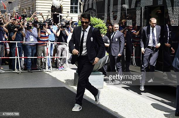 Juventus' players including goalkeeper and captain Gianluigi Buffon arrive at the Regent hotel in Berlin on the eve of the UEFA Champions League...