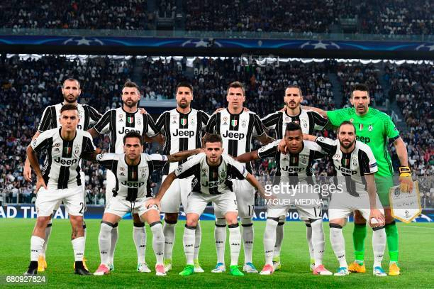 Juventus players Juventus' defender from Italy Giorgio Chiellini Juventus' defender from Italy Andrea Barzagli Juventus' midfielder from Germany Sami...