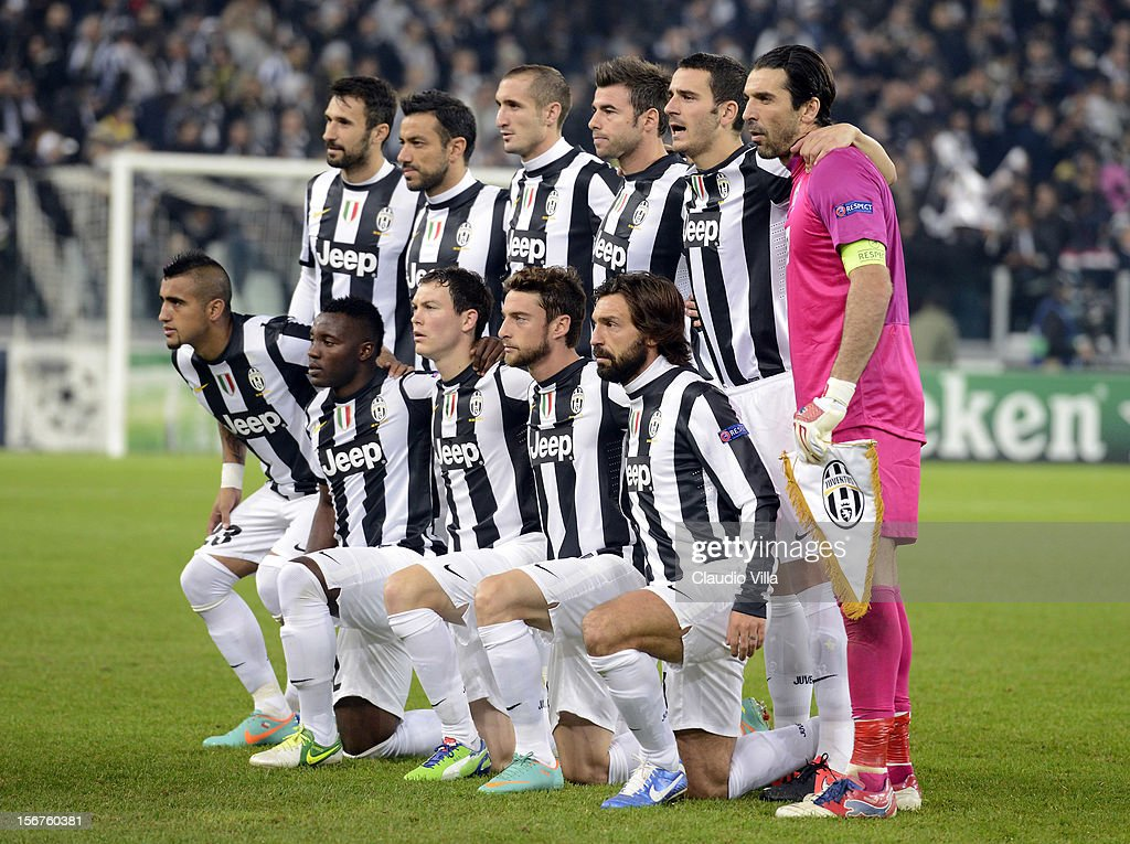 Juventus players line up for a team photo before the start of the UEFA Champions League Group E match between Juventus and Chelsea FC at Juventus Arena on November 20, 2012 in Turin, Italy.