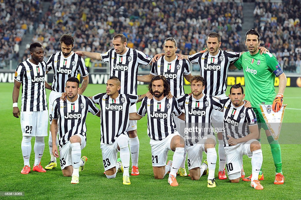 Juventus players line up for a team photo before the start of the UEFA Europa League quarter final match between Juventus and Olympique Lyonnais at Juventus Arena on April 10, 2014 in Turin, Italy.
