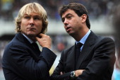 Juventus president Andrea Agnelli and Pavel Nedved look on prior to the Serie A match between Torino FC and Juventus at Stadio Olimpico di Torino on...