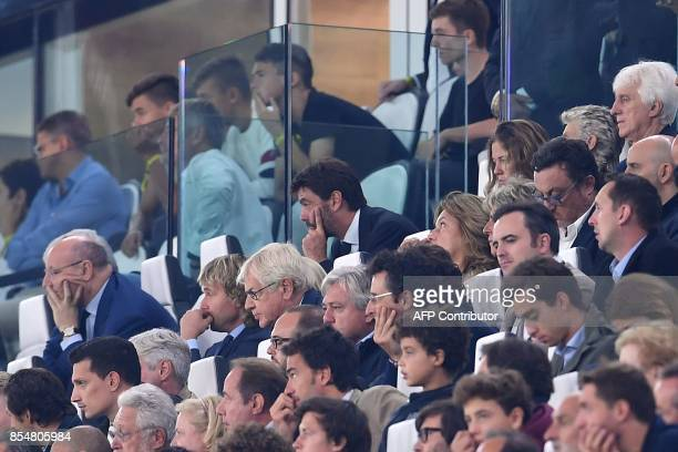 Juventus president Andrea Agnelli follows the UEFA Champion's League Group D football match Juventus vs Olympiacos on September 27 2017 at the...