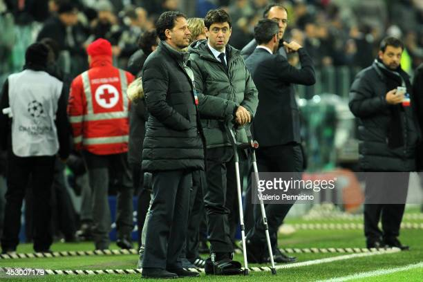 Juventus President Andrea Agnelli injured looks on Juventus prior to the UEFA Champions League Group B match between Juventus and FC Copenhagen at...
