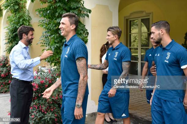 Juventus President Andrea Agnelli Mario Mandzukic Federico Bernardeschi and Mattia De Sciglio before the preseason friendly match between Juventus A...