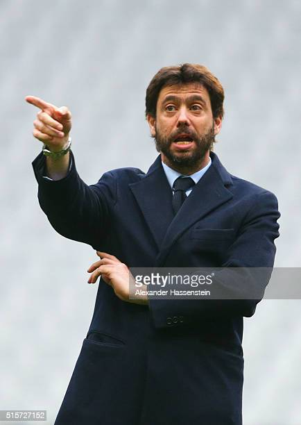 Juventus President Andrea Agnelli walks on the pitch prior to a Juventus press conference ahead of their UEFA Champions League round of 16 second leg...