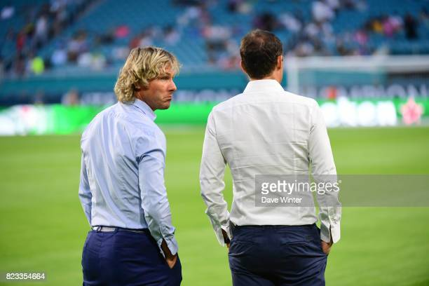 Juventus sporting director Pavel Nedved and Juventus head coach Massimiliano Allegri during the International Champions Cup match between Paris Saint...