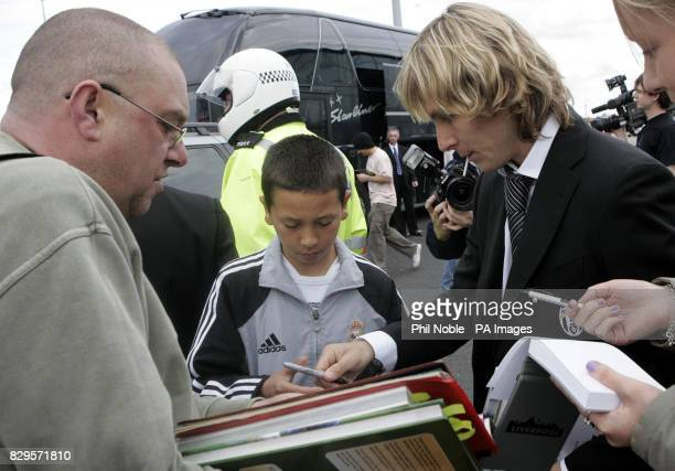 Juventus star Pavel Nedved is met by fans