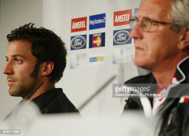 Juventus striker Alessandro Del Piero listens to coach Marcello Lippi during a news conference at Newcastle United's St James's Park ground ahead of...