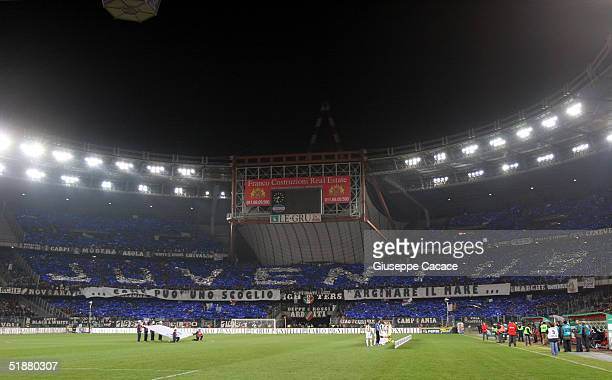 Juventus supporters are seen at Stadio delle Alpi in Turin during Juventus vs AC Milan match The match ended in a 00 drwa
