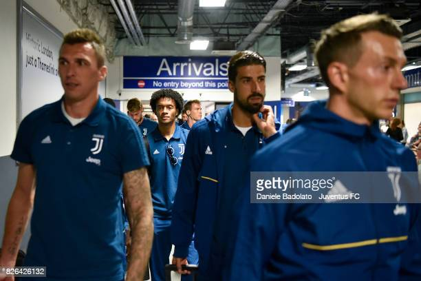 Juventus team arrive on August 4 2017 in London United Kingdom