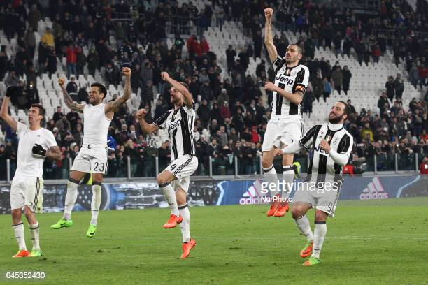 Juventus team celebrates victory after the Serie A football match n26 JUVENTUS EMPOLI on at the Juventus Stadium in Turin Italy
