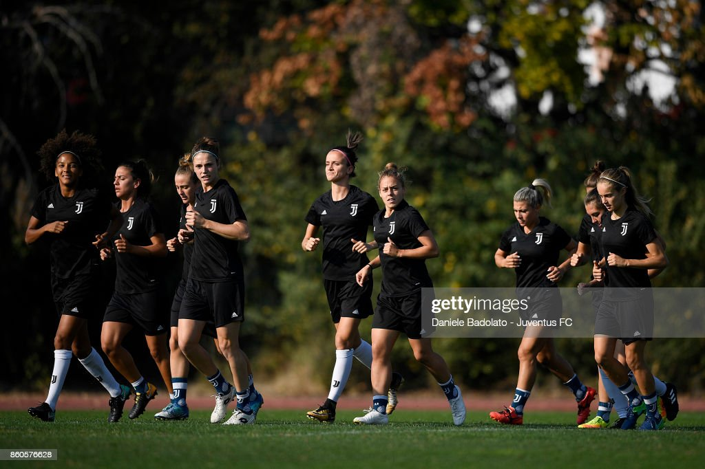 Juventus team during a Juventus Women training session on October 12, 2017 in Turin, Italy.