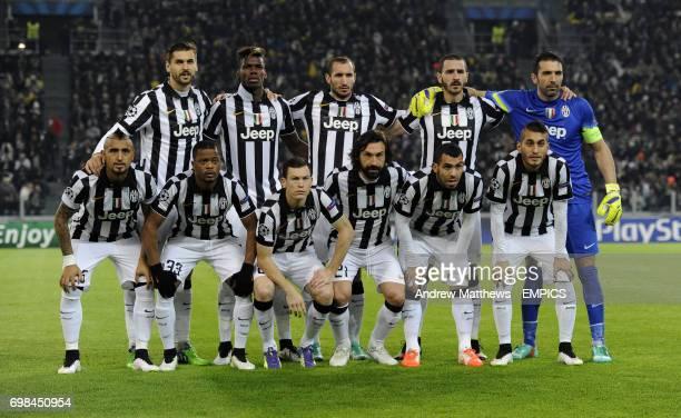 Juventus team group Front row left to right Fernando Llorente Paul Pogba Giorgio Chiellini Leonardo Bonucci and Juventus goalkeeper Gianlugi Buffon...