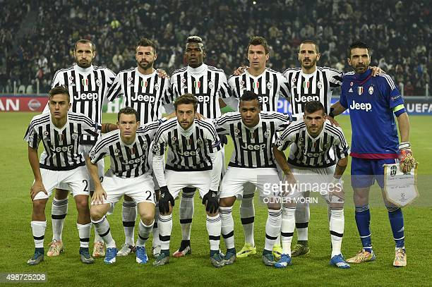 Juventus team players Juventus' defender from Italy Giorgio Chiellini Juventus' defender from Italy Andrea Barzagli Juventus' midfielder from France...