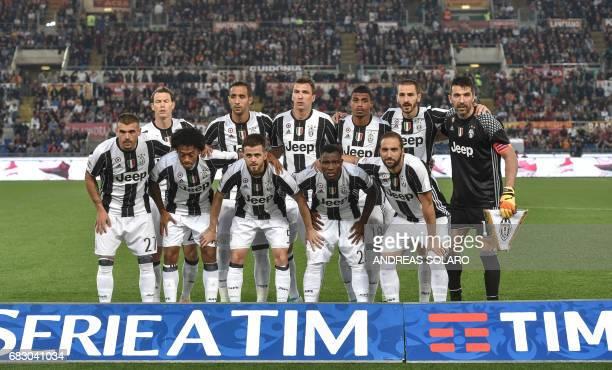 Juventus' team players Juventus' defender from Switzerland Stephan Lichtsteiner Juventus' defender Medhi Benatia Juventus' forward from Croatia Mario...