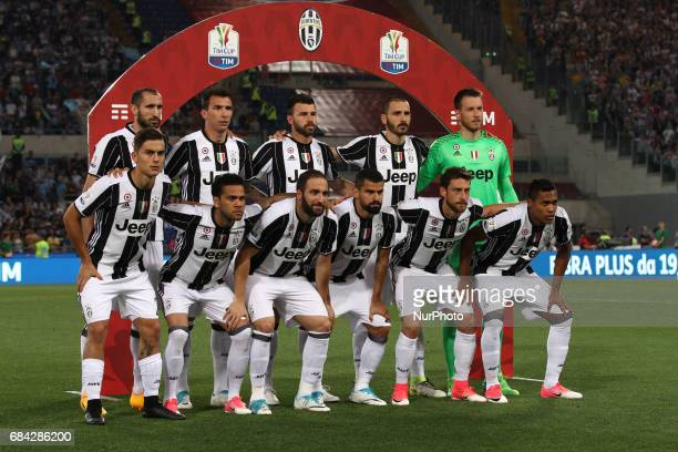 Juventus team poses in order to be photographed before the Coppa Italia final football match JUVENTUS LAZIO on at the Stadio Olimpico in Rome Italy